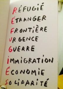 """Photo prise par moi, trouvée dans le livre """"Eux, c'est nous"""" p.16 (Réfugiés en 8 lettres)."""