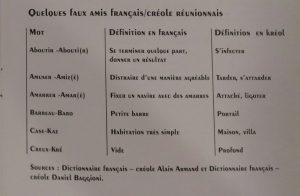 Faux amis creole reunionnais et français